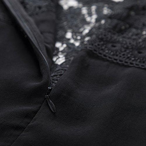 Cotylédons Women`s Robes De Dentelle À Encolure Dégagée Manches 3/4 Couleur Unie Noire Robe Longue