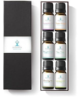 Aromela Essential Oils Aromatherapy Gift Set, 6 Bottles of 10ml (Peppermint, Lavender, Sweet Orange, Eucalyptus, Lemongrass, Tea Tree)
