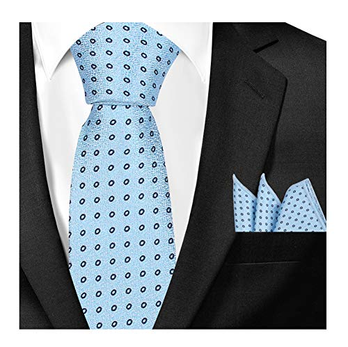 Men's Boys Light Blue Tie SET Summer Black Circle Party Silk uk Designer (Black Tie Circle)