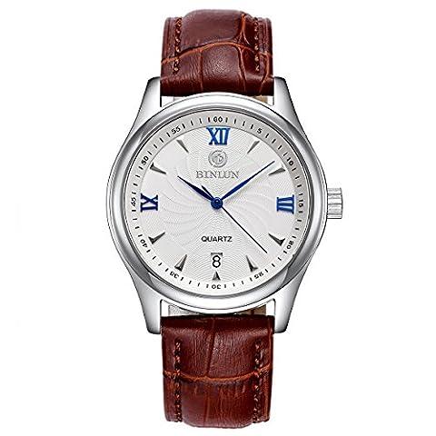 BINLUN Mens Waterproof Brown Leather Watch Minimalist Analog Quartz Calendar Date Watches
