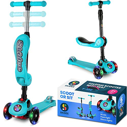 (Scooter For Kids with Folding Seat – 2019 NEW 2-in-1 Adjustable 3 Wheel Kick Scooter for Toddlers Girls & Boys – Fun Outdoor Toys for Kids Fitness, Outside Games, Kid Activities – Boy & Girl Toys)