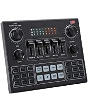 Sound Card,Multifunctional Live Sound Card,V9 Bluetooth Sound Card Stereo Audio Mixer for Computer Game Mobile Phone Live Broadcast,for Computer Game,Mobile Phone,Live Broadcast
