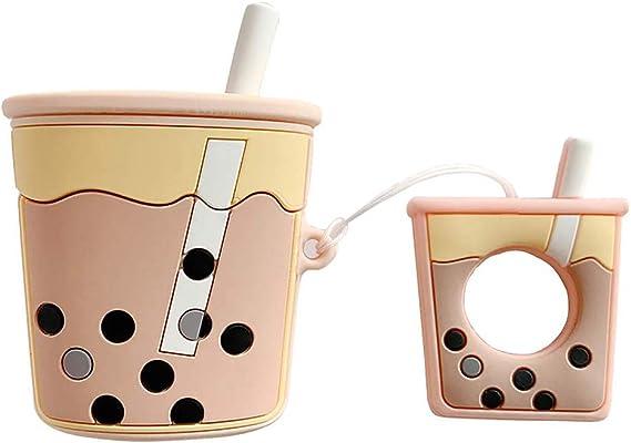 Amazon Com Airpods Case Milk Tea Cute Airpods Cartoon Case
