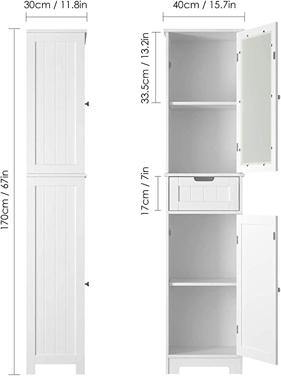 HOMECHO Armario Alto para Baño Mueble Columna de Baño con 2 Puertas y 1 Cajón Blanco 40 x 30 x 170 cm: Amazon.es: Hogar