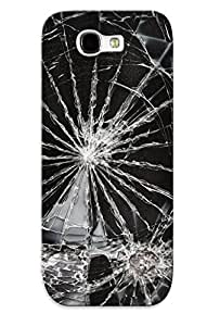 For Galaxy Note 2 Tpu Phone Case Cover(broken Glass Shaered Crack Abstract Window Bokeh Paern Psychedelic )