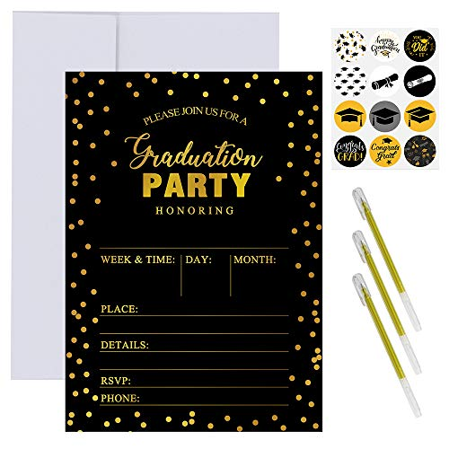 Supla 50 Set Graduation Party Invitation Cards Black and Gold Foil Graduation Announcement Cards Grad Party Invitations with Envelopes Stickers Pens for High School College Graduation Party Favors]()