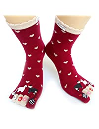 Women/Girl winter Long Toe socks Funky Red Love kiss sheep printing cotton sock - red