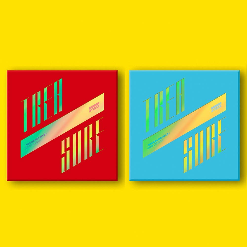 K-POP ATEEZ - Treasure EP.3 : One to All, Random Cover Incl. CD, 104pg Booklet, 3 Photocards, 8 Postcards, On Pack Folded Poster, Sticker, Extra Photocards Set