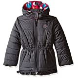 Pink Platinum Toddler Girls' Puffer Jacket with Big Dots Print Lining, Charcoal, 3T