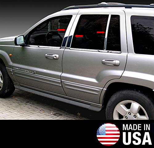 Made in USA! Works with 1999-2004 Jeep Grand Cherokee 6 PC Stainless Steel Chrome Pillar Post Trim