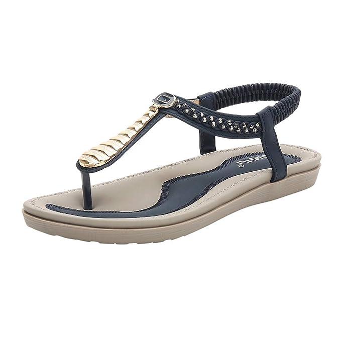 Darringls_Sandalias para Mujer,Sandalias Mujeres Moda Verano Plano Talla Grande Bohemia Clip Toe Dulce con Cuentas Sandalias Casuales Zapatos De Playa ...