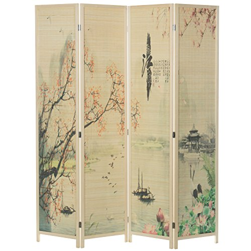 MyGift 4-Panel Asian-Inspired Bamboo-Screen Room (Asian Inspired Furniture)