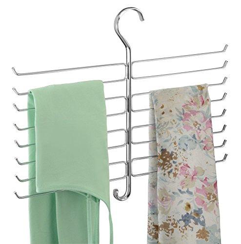 mDesign Metal Closet Rod Hanging Accessory Storage Organizer Rack for Scarves, Ties, Yoga Pants, Leggings, Tank Tops - Snag Free, Geometric Design, 16 Arms/1 Hook - Chrome