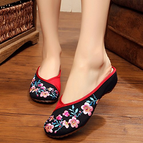 WXT Zapatos bordados, lenguado de tendón, estilo étnico, flip flop femenino, moda, cómodo, sandalias Black