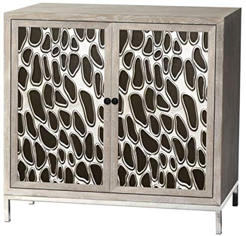 Home Source A-4460 MOP Carlene Accent Chest White Wash, Metal and Matt Black