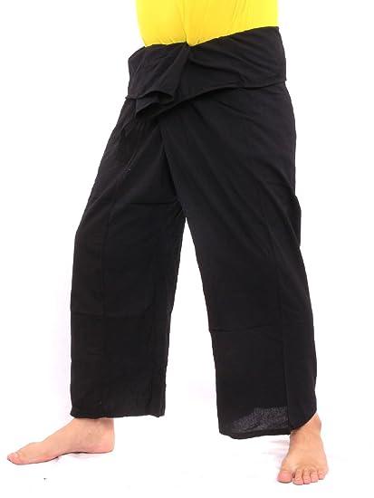 b24478d628 jing shop Men's Thai Fisherman Pants Solid Color with One Side Pocket L  Black