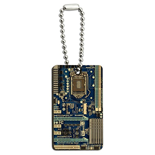 Blue Computer Motherboard - Processor CPU Memory Wood Wooden Rectangle Key Chain (Wood Processor)