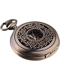 AMPM24 Mens Vintage Mechanical Hand-wind Pocket Watch Brass Tone + Chain WK914