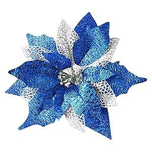 Hanobo 8Pcs Gold Glittery Artificial Christmas Flowers Christmas Tree Ornaments Dia 8.3 Inch 4