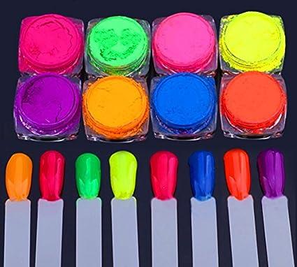Amazon.com: Nail Powder - Powder For Nails - 8 Boxes Neon Pigment ...