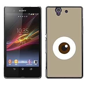 """For Sony Xperia Z Case , Monstruo de ojos minimalista Monada Beige"""" - Diseño Patrón Teléfono Caso Cubierta Case Bumper Duro Protección Case Cover Funda"""
