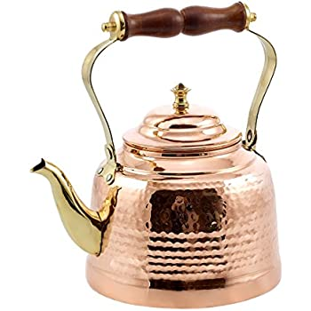Old Dutch Hammered Copper Tea Kettle with Brass Spout and Wooden Handle, 2 qt.