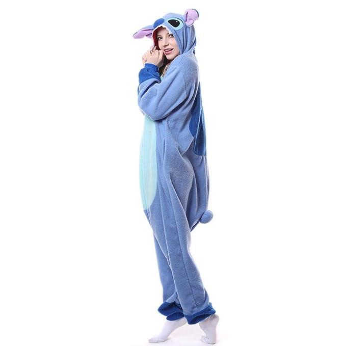 WEAKD Pijamas de Animales Pink Stitch Polar Fleece Disfraz General Pijamas de Dibujos Animados Halloween Carnaval Mascarada Fiesta Mono para Adulto