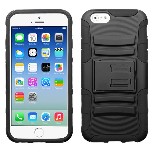 """MEGATRONIC Black Advanced Armor Kick Stand Two Piece Hard Protector Case Cover Skin for Apple iPhone 6 4.7 4.7"""" 6th Generation W/ Free Stylus"""
