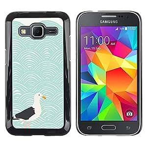 Be Good Phone Accessory // Dura Cáscara cubierta Protectora Caso Carcasa Funda de Protección para Samsung Galaxy Core Prime SM-G360 // Modern Art Seagull Waves Blue Sea