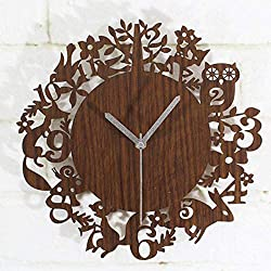 Cute Cartoon Wooden Wall Clock Simple Modern Design Forest Animals Wood Clocks Pastoral Style Bamboo Wall Watch Silent 12 Inch