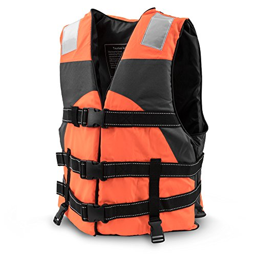 (Crown Sporting Goods Multi-Sport Personal Flotation Device Life Vest with Hi-Visibility Reflective Panels and Threading (Safety Orange))