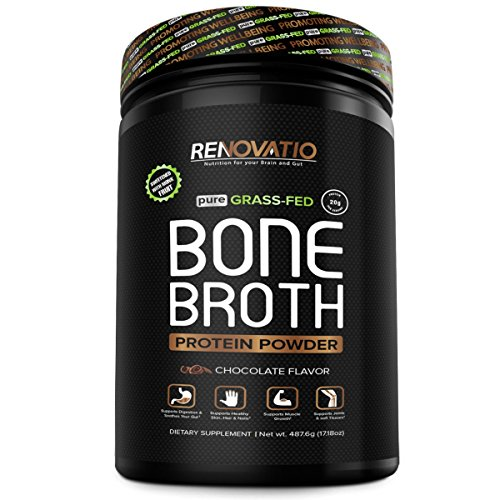 Bone Broth Protein Powder Chocolate - Non-GMO Grass-Fed Collagen Peptides - Monk Fruit Sweetened No Sugar Paleo & Keto Suitable -Dairy Gluten Soy & Corn Free Ancient Form of Nutrition (17.18oz, 487.6)
