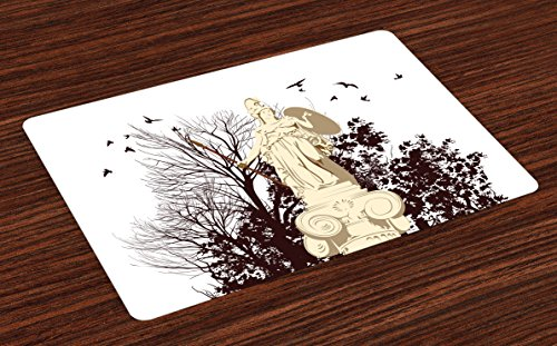 - Vintage Place Mats Set of 4, Greek Athena Statue with Tree and Bird Silhouettes Sculpture Architecture, Washable Placemats for Dining Room Kitchen Table Decoration, Dark Brown and Beige