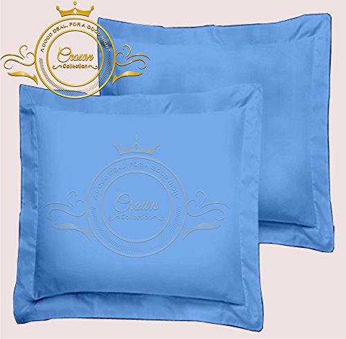 European Square Pillow Shams Set of 2 All Size & Colors 600 Thread Count 100% Egyptian Cotton Pack of Two Euro 26 x 26 Pillow Shams Cushion Cover Decorative (Euro 26x26 Inch, Light Blue)