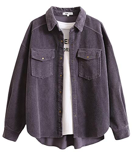 Women's Boyfriend Corduroy Button Down Shirt Jacket (Dark Grey, - Shirt Corduroy Top