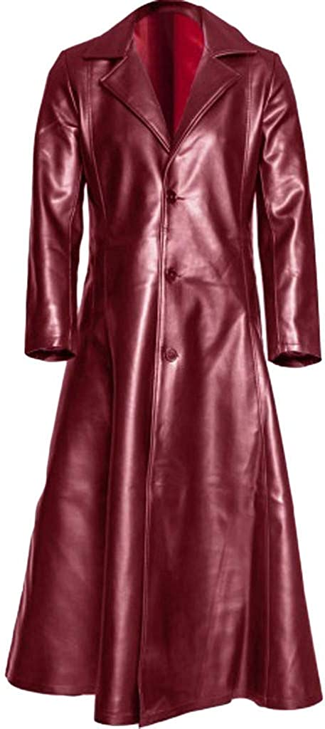 Gothic Leather Trench Coat for Men Autumn Winter Long Coat Leather Coat Faux Leather Jacket Outwear S-5XL