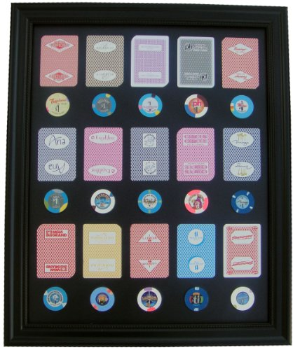 Black Display Frame WITH Las Vegas Casino Poker Chips and Cards