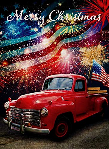 (Selmad Winter Decorative Merry Christmas Garden Flag USA, American Xmas Quote House Yard Flag with Red Truck, Navy Garden Yard Decorations, New Year Fireworks Seasonal Outdoor Flag 12 x 18 Holiday )