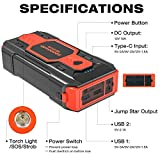 NEXPOW Battery Starter for Car, 2500A 22000mAh