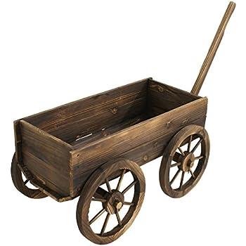 garden planters wooden wagon wheel wine barrel flower plant holder box stand. Black Bedroom Furniture Sets. Home Design Ideas