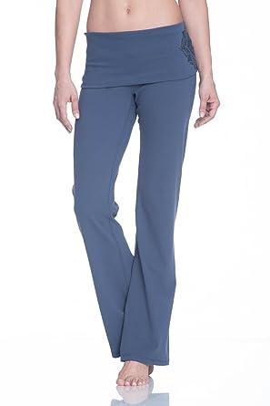 af284a24af5 Gaiam Women s Om Nova High Waist Pant Foldover Waistband Bootcut Yoga Pants  - Black Tap