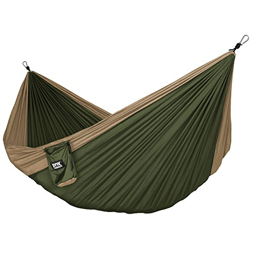Fox Outfitters Neolite Double Camping Hammock – Lightweight Portable Nylon Parachute Hammock for Backpacking, Travel, Beach, Yard. Hammock Straps & Steel Carabiners Included