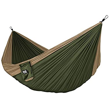 Alpha Double Camping Hammock - Lightweight Portable Rip Stop Nylon Parachute Hammock for Backpacking, Travel, Beach, Yard. Hammock Straps & Steel Carabiners Included