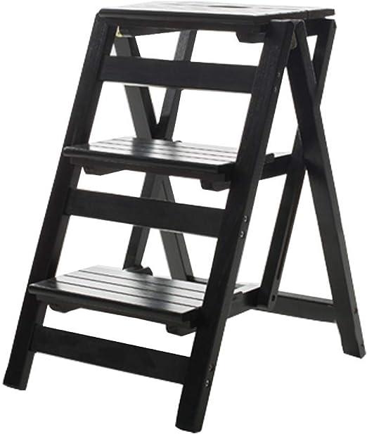 HIGHKAS Taburete Plegable de Escalera de Madera Escalera Taburete multifunción de 3 peldaños, Home Library Escalera práctica pequeña, 4 Colores (Color: Negro): Amazon.es: Hogar