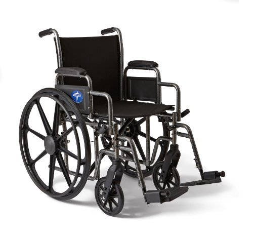 Medline Strong and Lightweight Wheelchair with Desk-Length Arms and Swing-Away Leg Rests for Easy Transfers, 18