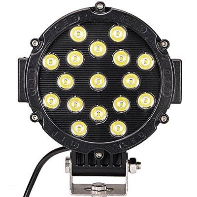 ATNEC LED Light Bar 51W Round Flood LED Work Light Driving Fog Light Off Road Lights IP67 Waterproof for Off-road, Truck, Car, ATV, SUV, Jeep, Boat