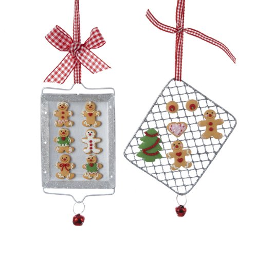 Claydough Gingerbread ON Metal Cookie Tray Ornament Set