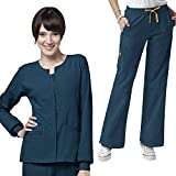 Four-Stretch Women's Button Front Solid Scrub Jacket & Sporty Cargo Pant Set+FREE GIFT