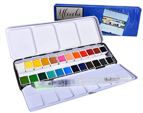 tch Set - 24 Assorted Colors with Brush - 2 Mixing Palletes - Metal Tin - Perfect Watercolor Half Pan Set for Watercolor Paintings & Coloring - Portable Travel Watercolor Kit (Calligraphy Ink Palette Kit)