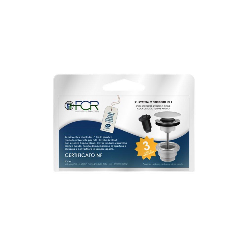 /1/1//4 FCR/ /Vidage lavabo bidet clic clac universel avec coque ronde en c/éramique blanche brillante/